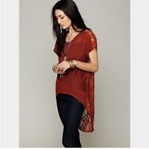 Free People Day Dream High Low Lace Stripe Tunic